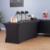 Lancaster Table & Seating 72 inch x 30 inch Bi-Folding Table with Black Stretch Cover