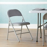 Lancaster Table & Seating Grey Fabric Folding Chair with Padded Seat