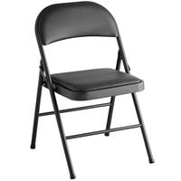 Lancaster Table & Seating Black Vinyl Folding Chair with Padded Seat