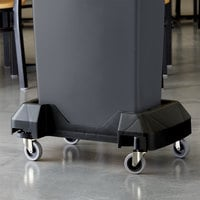 Lavex Janitorial Black Trainable Slim Trash Can Dolly