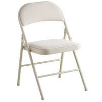Lancaster Table & Seating Beige Fabric Folding Chair with Padded Seat