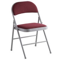 Lancaster Table & Seating Burgundy Fabric Folding Chair with Padded Seat