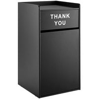 Lancaster Table & Seating Waste 35 Gallon Black Receptacle Enclosure with THANK YOU Swing Door