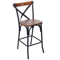 BFM Seating JS88HASH-AASB Henry Sand Black Steel X-Back Counter Height Stool with Autumn Ash Wooden Back and Seat