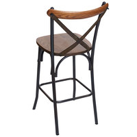 BFM Seating JS88HASH-AARU Henry Distressed Rustic Clear Coated Steel X-Back Counter Height Stool with Autumn Ash Wooden Back and Seat