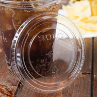 Solo 662TS Clear Plastic Lid with Straw Slot - 100/Pack
