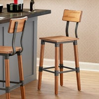 Lancaster Table & Seating Rustic Industrial Bar Height Chair with Antique Natural Finish