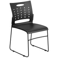 Flash Furniture RUT-2-BK-GG Hercules Black Sled Base Stack Chair with Air-Vent Back