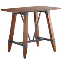 Lancaster Table & Seating 30 inch x 48 inch Solid Wood Live Edge Bar Height Table with Legs and Antique Walnut Finish