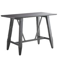 Lancaster Table & Seating 30 inch x 60 inch Solid Wood Live Edge Bar Height Table with Legs and Antique Slate Gray Finish