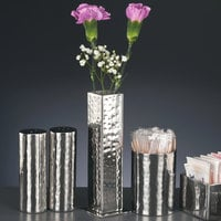 World Tableware 6701 Sonoran 5 1/4 inch Hammered Stainless Steel Square Bud Vase