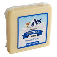 Alps 7 oz. Natural Austrian Mountain Gruyere Cheese Block - 12/Case
