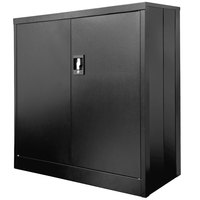 Luxor FOLDCAB3636B Black Folding Two-Shelf Metal Storage Cabinet