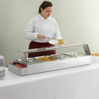 Avantco BMFW4 46 inch Electric Bain Marie Buffet Countertop Food Warmer with 4 Half Size Wells - 1500W, 120V