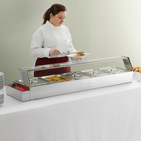 Avantco BMFW5 57 inch Electric Bain Marie Buffet Countertop Food Warmer with 5 Half Size Wells - 1500W, 120V