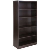Boss N158-MOC Mocha Laminate 5-Shelf Bookcase - 31 inch x 14 inch x 65 1/2 inch