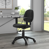 Boss B316-BK Black Tweed Perfect Posture Deluxe Office Task Chair with Adjustable Arms
