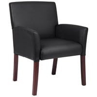 Boss B619 Black Box Arm Guest Chair with Mahogany Finish