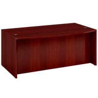 Boss N189-M Mahogany Laminate Bow Front Desk Shell - 71 inch x 41 inch x 29 inch