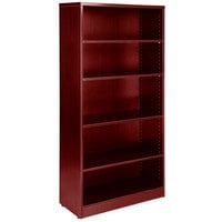 Boss N158-M Mahogany Laminate 5-Shelf Bookcase - 31 inch x 14 inch x 65 1/2 inch