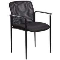 Boss B6909-BK Black Mesh Stackable Guest Chair with Arms