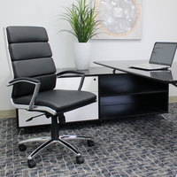 Boss B9471-BK Black CaressoftPlus Executive Chair with Metal Chrome Finish