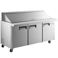 Avantco APT-71M-HC 71 inch 3 Door Mega Top Refrigerated Sandwich Prep Table