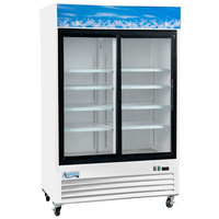 Avantco GDS-33-HCW 40 inch White Sliding Glass Door Merchandiser Refrigerator with LED Lighting