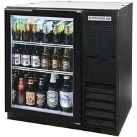 Beverage-Air BB36HC-1-FG-B 36 inch Black Food Rated Glass Door Back Bar Refrigerator