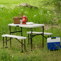 Lifetime 80373 42 inch x 24 inch Almond Plastic Folding Picnic Table with 2 Benches