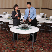 Lifetime 22960 46 inch Round White Granite Plastic Folding Table