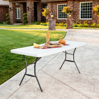 Lifetime 2924 72 inch x 30 inch White Granite Plastic Light-Duty Folding Table