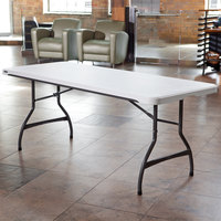 Lifetime 80306 72 inch x 30 inch White Granite Plastic Nesting Folding Table