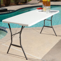 Lifetime 4534 60 inch x 28 inch White Granite Plastic Light-Duty Fold-In-Half Table