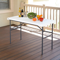 Lifetime 280478 48 inch x 24 inch White Granite Plastic Nesting Folding Table