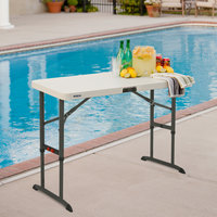 Lifetime 80387 48 inch x 24 inch Almond Adjustable Plastic Folding Table