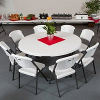 Lifetime 280301 60 inch Round White Granite Plastic Nesting Folding Table