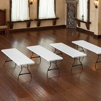 Lifetime 80344 96 inch x 30 inch White Granite Plastic Nesting Folding Table - 4/Pack