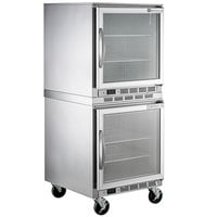 Beverage-Air UCR27AHC-25 Double Stacked 27 inch Glass Door Undercounter Refrigerator with 4 inch Casters