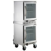 Beverage-Air UCR20HC-25 Double Stacked 20 inch Shallow Depth Glass Door Undercounter Refrigerator with 6 inch Casters