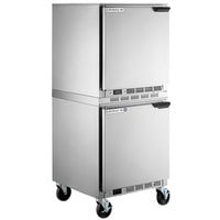 Beverage-Air UCF27AHC-24 and UCR27AHC-24 Double Stacked 27 inch Undercounter Freezer and Refrigerator with Left Hinged Doors and 6 inch Casters