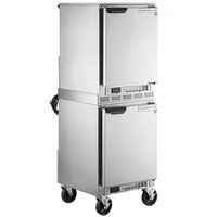 Beverage-Air UCR20HC Double Stacked 20 inch Shallow Depth Undercounter Refrigerator with 6 inch Casters