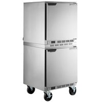 Beverage-Air UCF27AHC Double Stacked 27 inch Undercounter Freezer with 6 inch Casters
