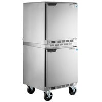 Beverage-Air UCR27AHC Double Stacked 27 inch Undercounter Refrigerator with 6 inch Casters