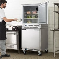 Beverage-Air UCF27AHC and UCR27AHC Double Stacked 27 inch Undercounter Freezer and Refrigerator with 6 inch Casters