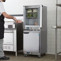 Beverage-Air UCR20HC-23 Double Stacked 20 inch Shallow Depth Undercounter Refrigerator and 3 inch Casters