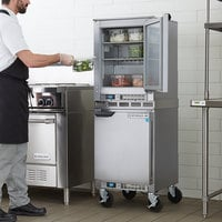 Beverage-Air UCF20HC and UCR20HC Double Stacked 20 inch Undercounter Freezer and Refrigerator with 6 inch Casters