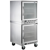 Beverage-Air UCF27AHC-25 Double Stacked 27 inch Glass Door Undercounter Freezer with 6 inch Casters