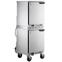 Beverage-Air UCF20HC-24 and UCR20HC-24 Double Stacked 20 inch Shallow Depth Undercounter Freezer and Refrigerator with Left Hinged Doors and 6 inch Casters