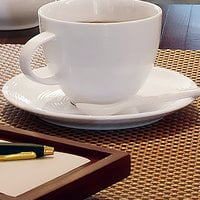 Front of the House DCS024WHP23 Spiral 5 3/4 inch White Porcelain Saucer - 12/Case